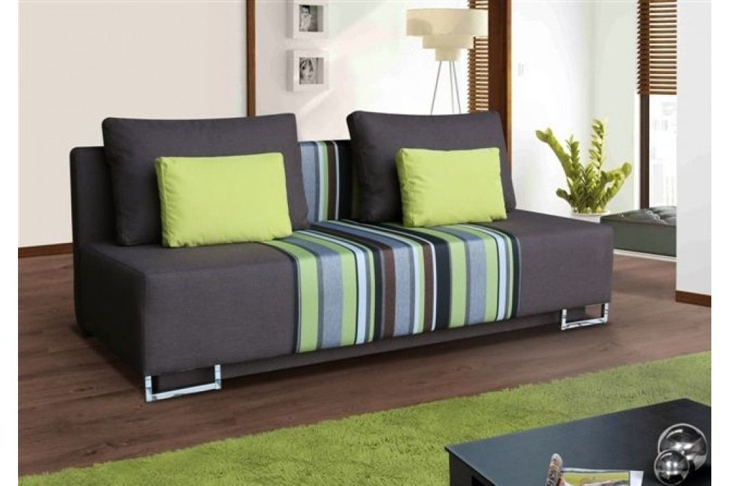 Rozkládací pohovka s úložným prostorem s polštářky v zelené barvě F1150