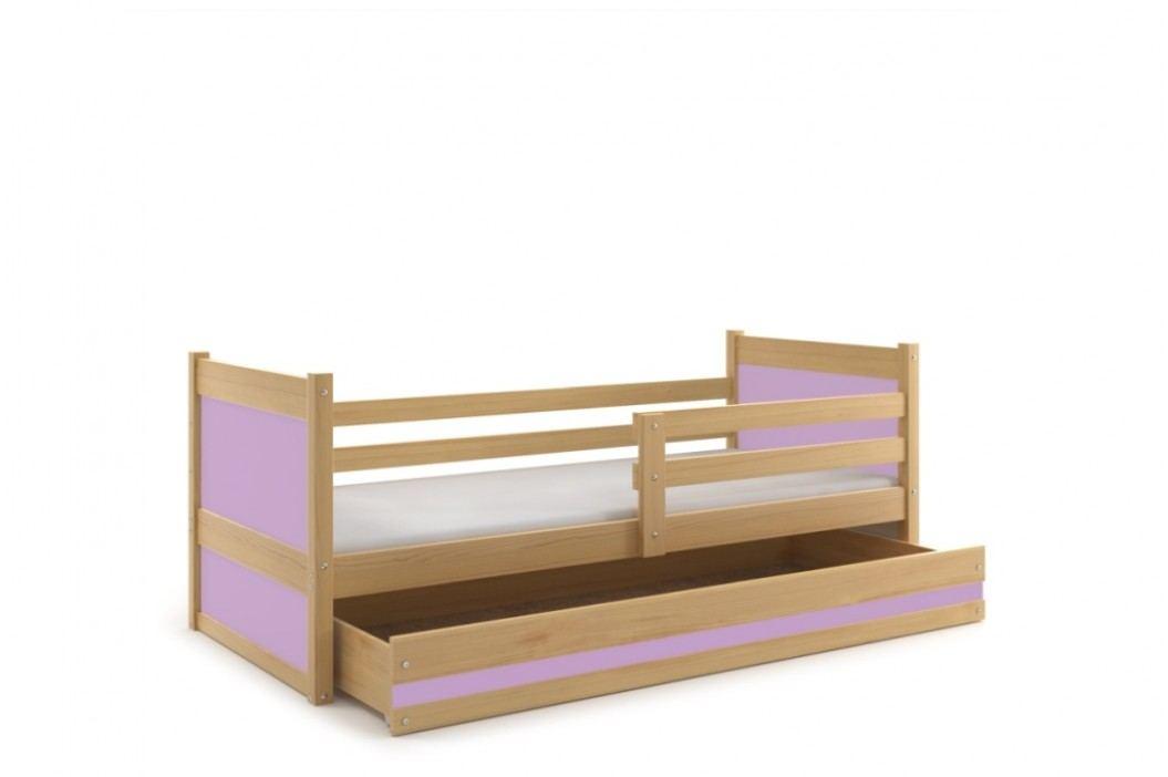 Dětská postel s úložným prostorem v dekoru borovice v kombinaci s růžovou barvou 90x200 F1133