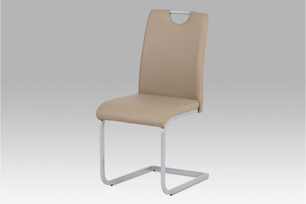Jídelní židle v kombinaci ekokůže cappuccino a šedý kov DCL-121 CAP