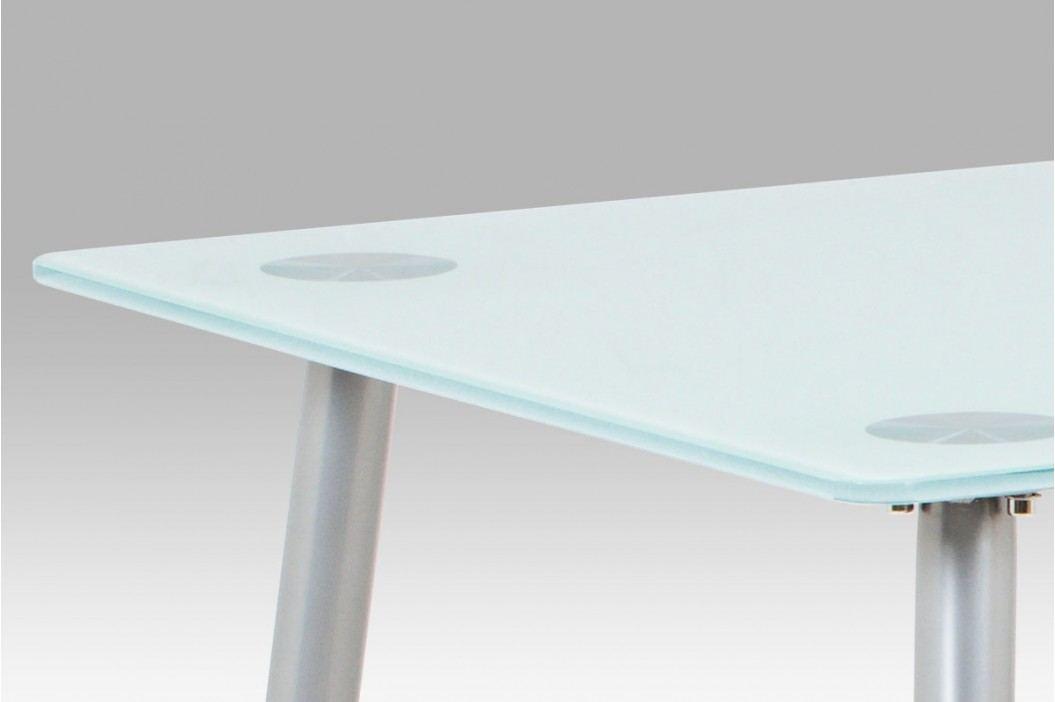 Jídelní stůl 120x70 cm mléčné sklo a nohy šedý lak GDT-115 WT