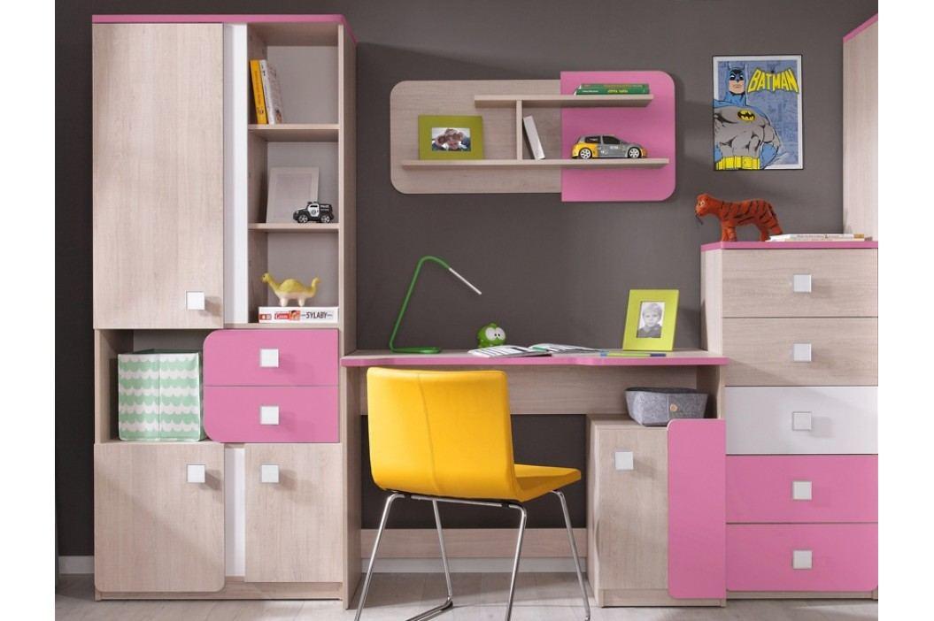 Dětská sestava v dekoru dub v kombinaci s růžovou barvou KN741