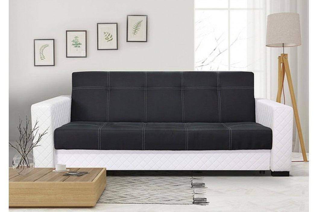 Moderní pohovka v kombinaci černé látky a bílé ekokůže F1224
