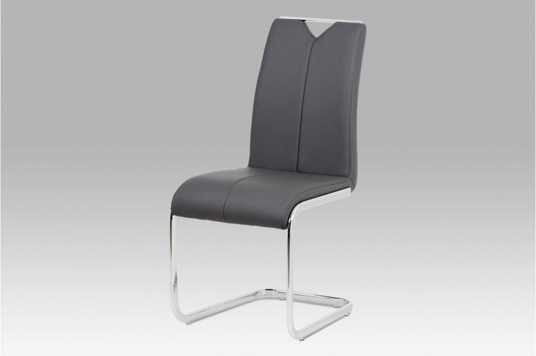 Jídelní židle koženka šedá chrom HC-374 GREY