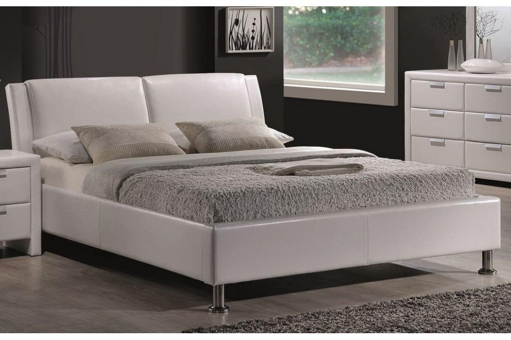 Čalouněná manželská postel 140x200 cm v bílé barvě KN263
