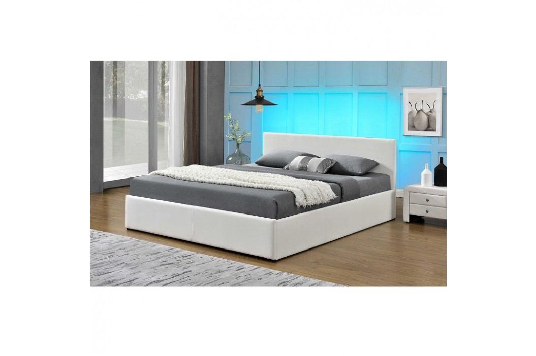 Manželská postel 183x200 cm s výklopným roštem a LED osvětlením bílá ekokůže TK3014 ATYP