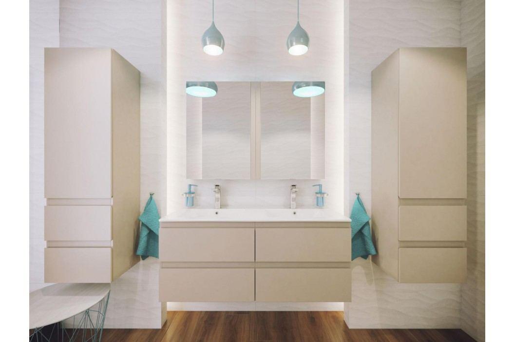 Závěsná koupelnová skříňka v bílé barvě ve vysokém lesku F1243