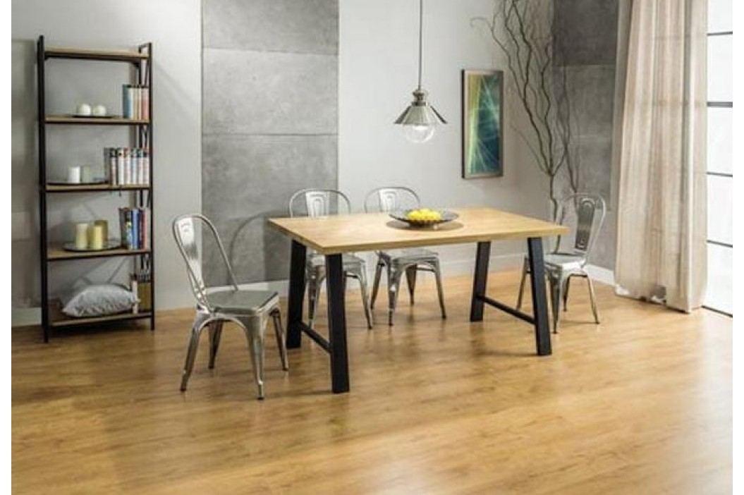 Jídelní stůl 180x90 cm v dekoru dub na kovové konstrukci KN569