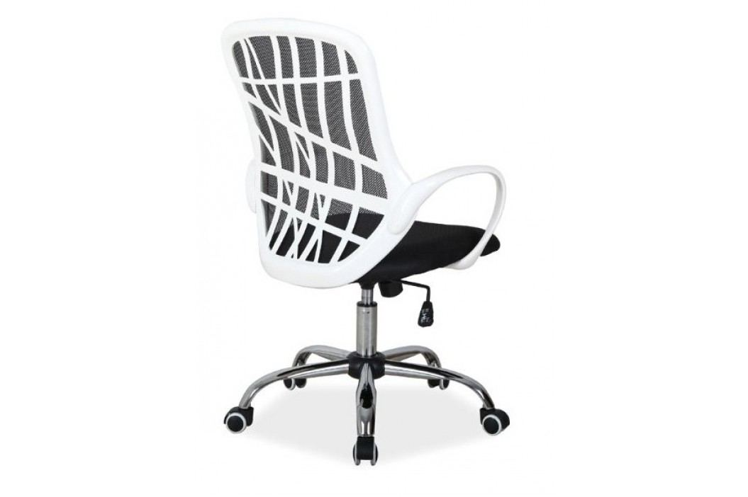 Kancelářské otočné křeslo v černé barvě s bílými opěrkami KN772