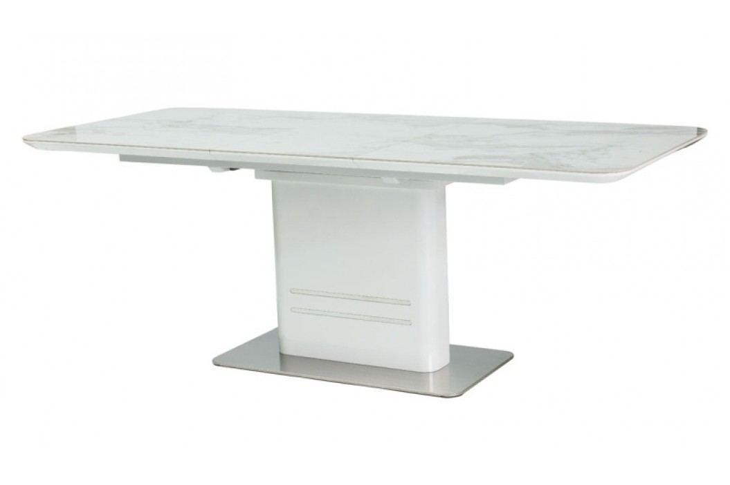 Jídelní rozkládací stůl 90x160 cm v bílém laku s kovovou konstrukcí KN738