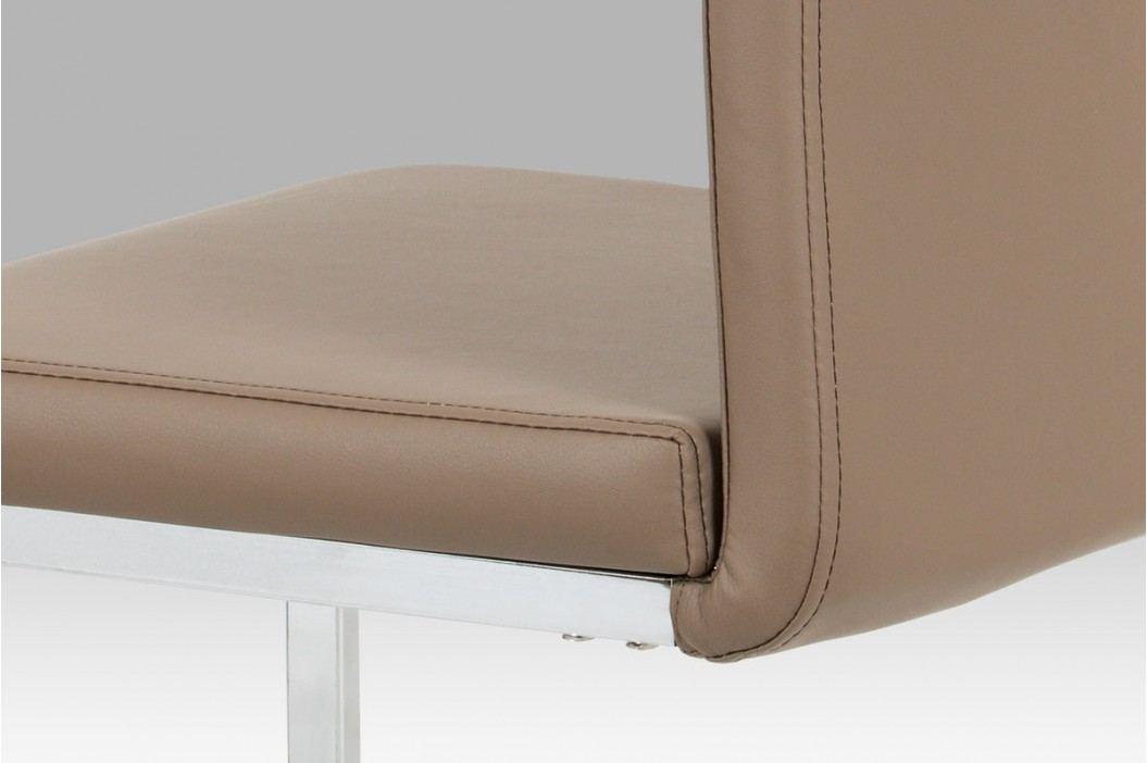 Moderní jídelní židle z latté koženky na pochromované konstrukci DCL-411 LAT obrázek inspirace