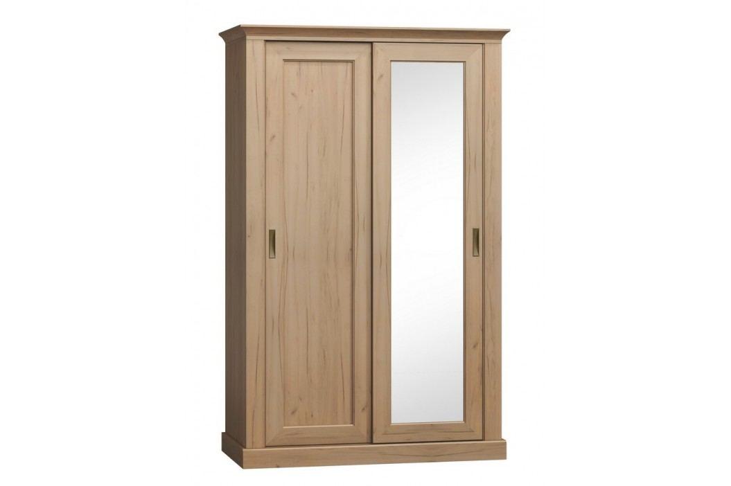 Šatní skříň 211 cm s posuvnými dveřmi se zrcadlem s možností výběru dekoru typ A211 KN746