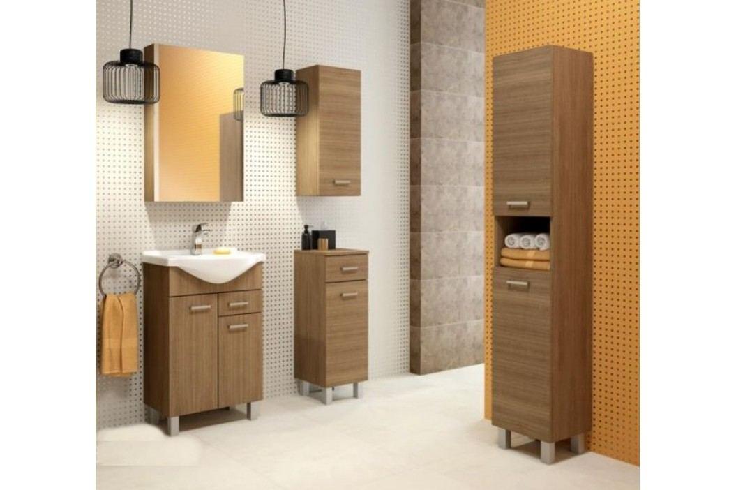 Závěsná koupelnová skříňka z lamina v dekoru dub chocolate 50 cm F1297