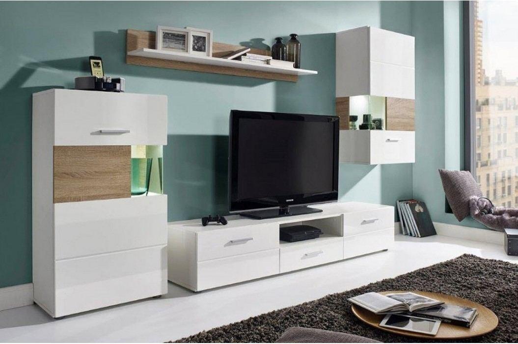 Obývací stěna v bílé matné barvě s prvky dekoru dub sonoma KN807