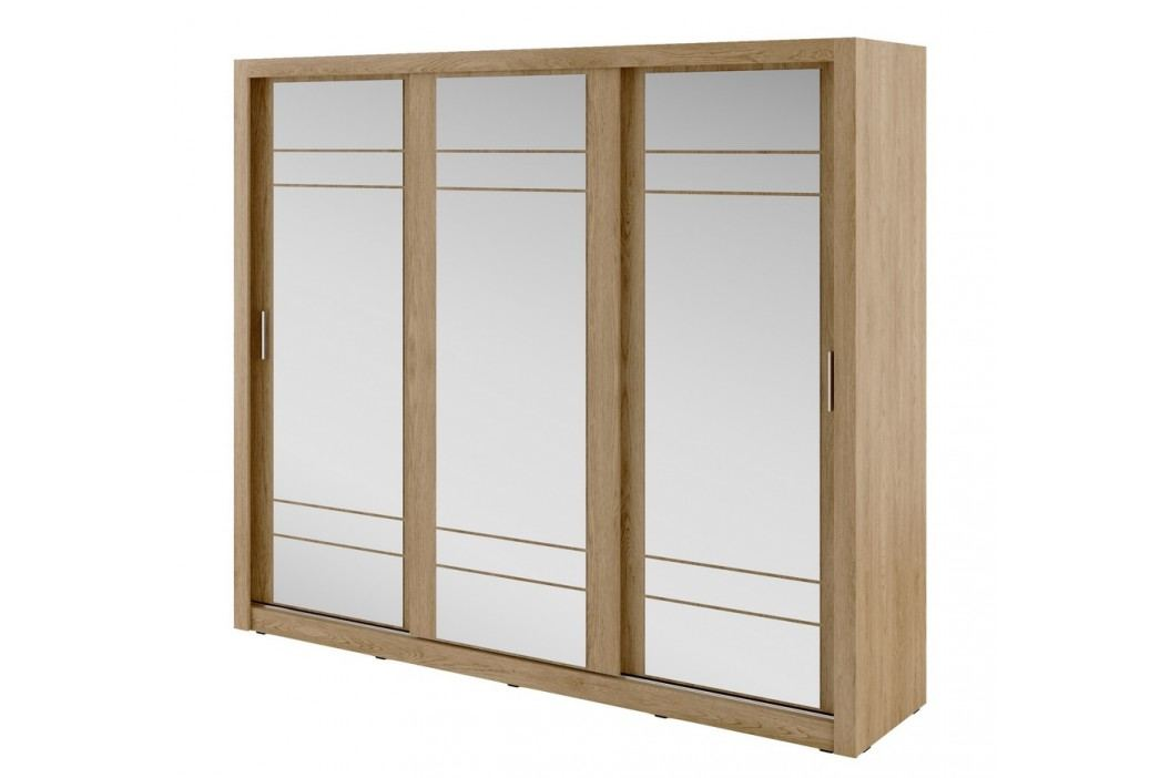 Šatní skříň 250 cm s posuvnými dveřmi se zrcadlem a korpusem v dekoru dub shetland KN821