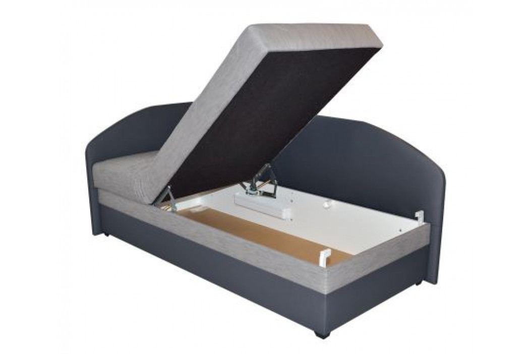 Válenda s PUR matrací v černé barvě se vzorem levá F1223