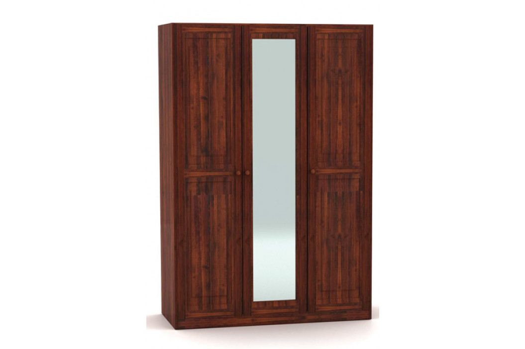 Klasická třídveřová šatní skříň se zrcadlem vyrobená z masivu MV055