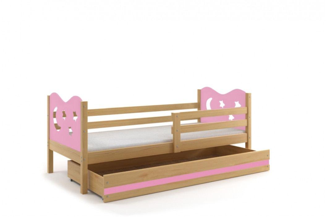 Dětská postel v kombinaci dekoru borovice a růžové barvy s úložným prostorem a matrací 80x190 cm F1377