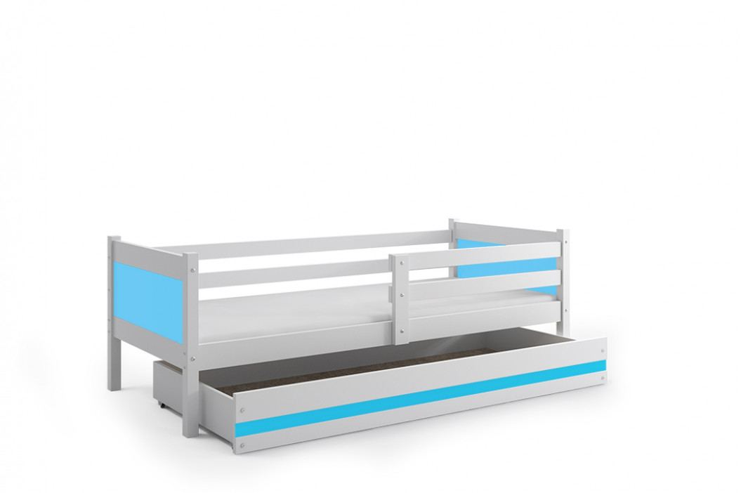 Dětská postel s úložným prostorem a matrací v kombinaci bílé a modré barvy 80x190 cm F1366