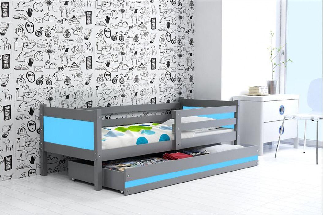 Dětská postel s úložným prostorem a matrací v kombinaci grafit a modré barvy 80x190 cm F1366