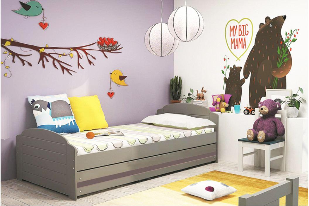 Dětská postel s úložným prostorem a matrací v grafit barvě 90x200 cm F1393