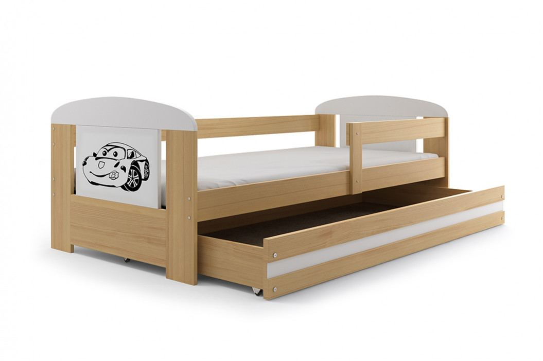 Dětská postel s úložným prostorem a matrací s motivem baletky 80x160 cm F1368
