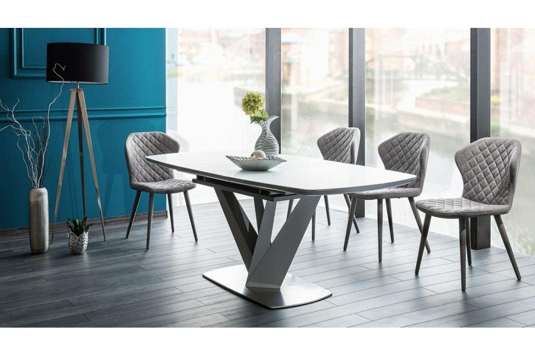 Jídelní rozkládací stůl 160x90 cm v šedé a bílé matné barvě KN973 obrázek inspirace