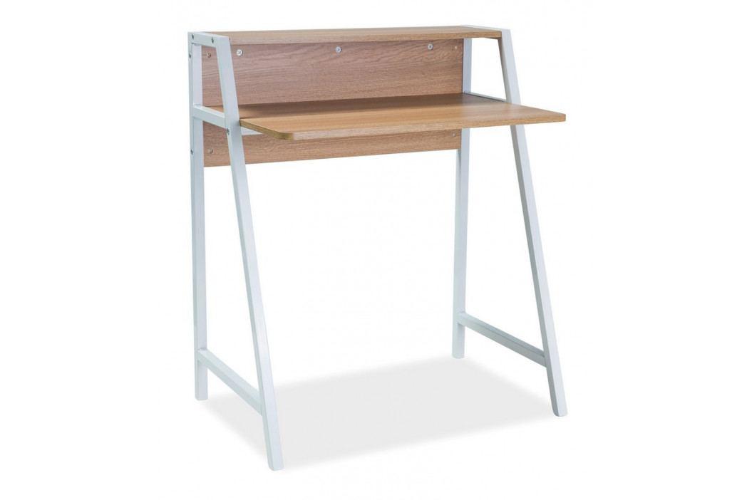 Pracovní stůl 75x51 cm v dekoru dub s kovovou bílou konstrukcí KN1049