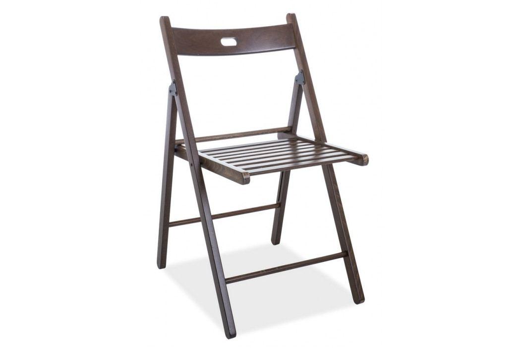 Skládací dřevěná jídelní židle v dekoru ořech tmavý typ II KN916