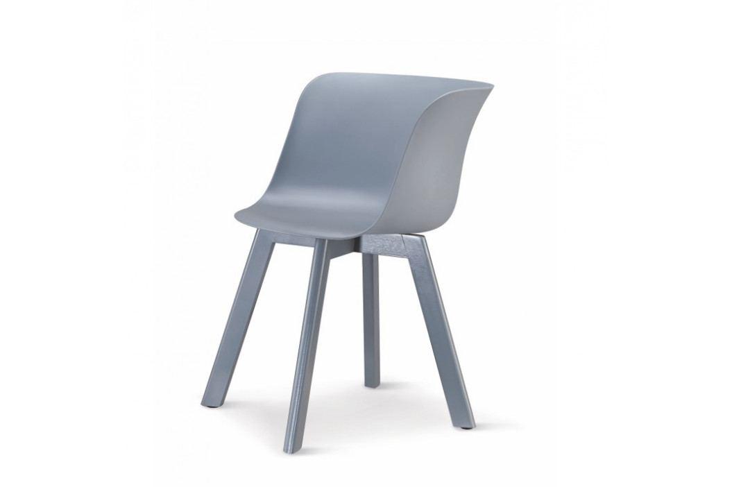 Plastové jídelní křeslo v decentní šedé s dřevěnou podstavou a zajímavým tvarováním TK240 II.jakost