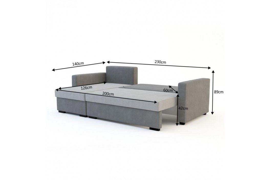 Univerzální rohová rozkládací sedací souprava šedá TK3088