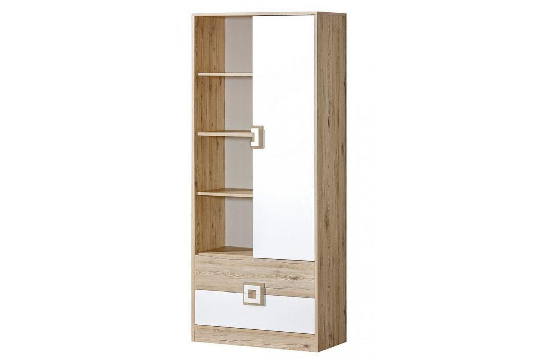 Kombinovaná skříň 80 cm s bílými dveřmi a zásuvkami s bílými úchytkami a s korpusem v dekoru dub typ 4 KN1078