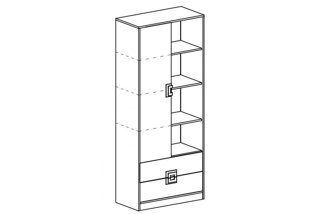 Kombinovaná skříň 80 cm s bílými dveřmi a zásuvkami se šedými úchytkami a s korpusem v dekoru dub typ 4 KN1078