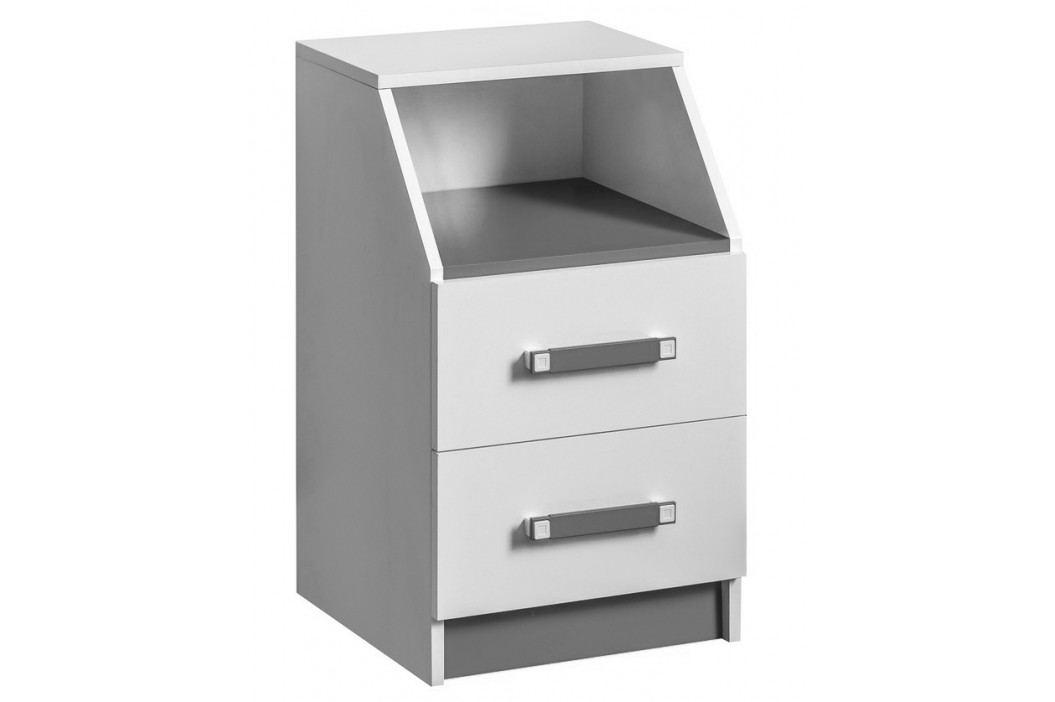 Kontejner se zásuvkami v bílé matné barvě se šedými úchytky typ 15 KN1079
