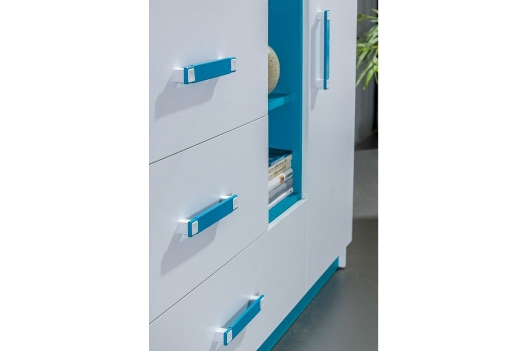 Šatní skříň 90 cm v bílé barvě s tyrkysovými úchytky a zásuvkou typ 1 KN1079