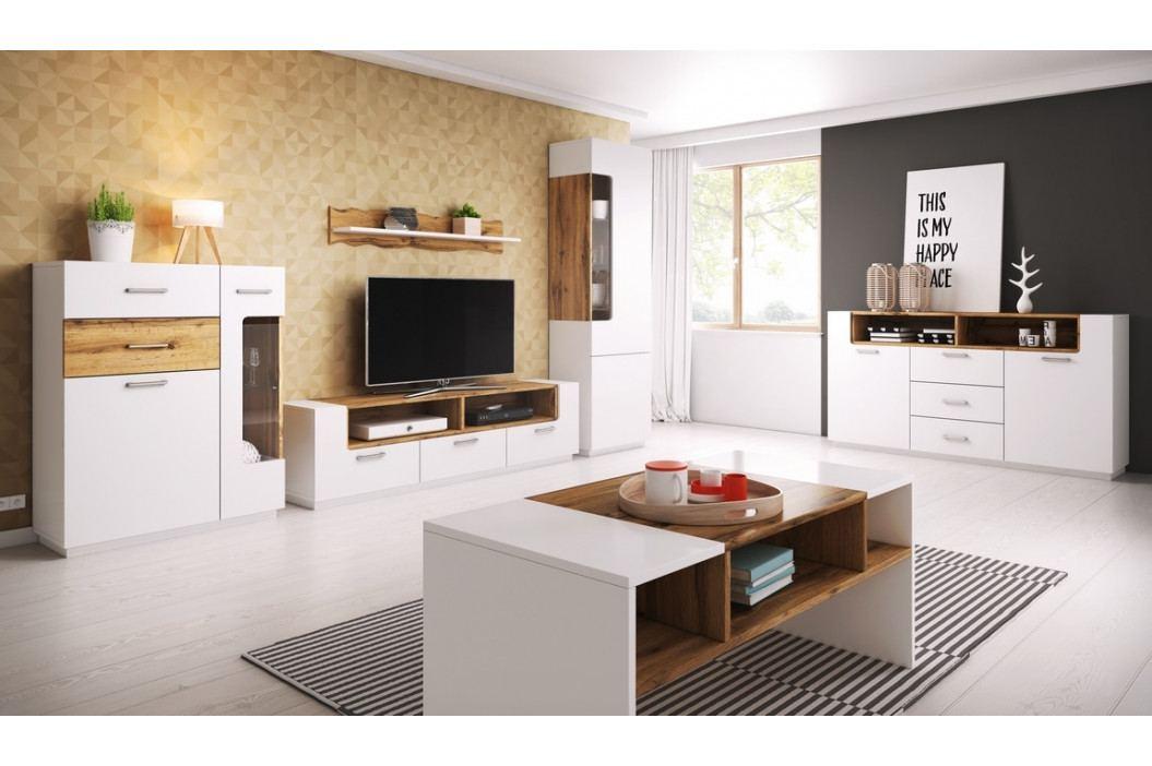 Pracovní stůl 208x90 cm v bílé matné barvě s dekorem dub wotan typ 88 KN1081