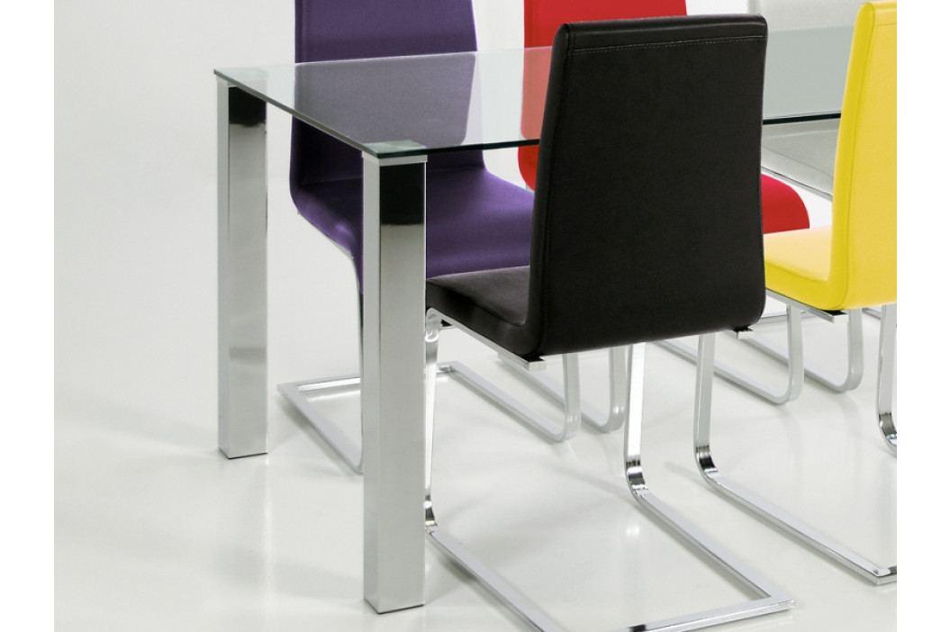 Jídelní stůl 90x90 cm s deskou z čirého skla na kovové podnoži DO056