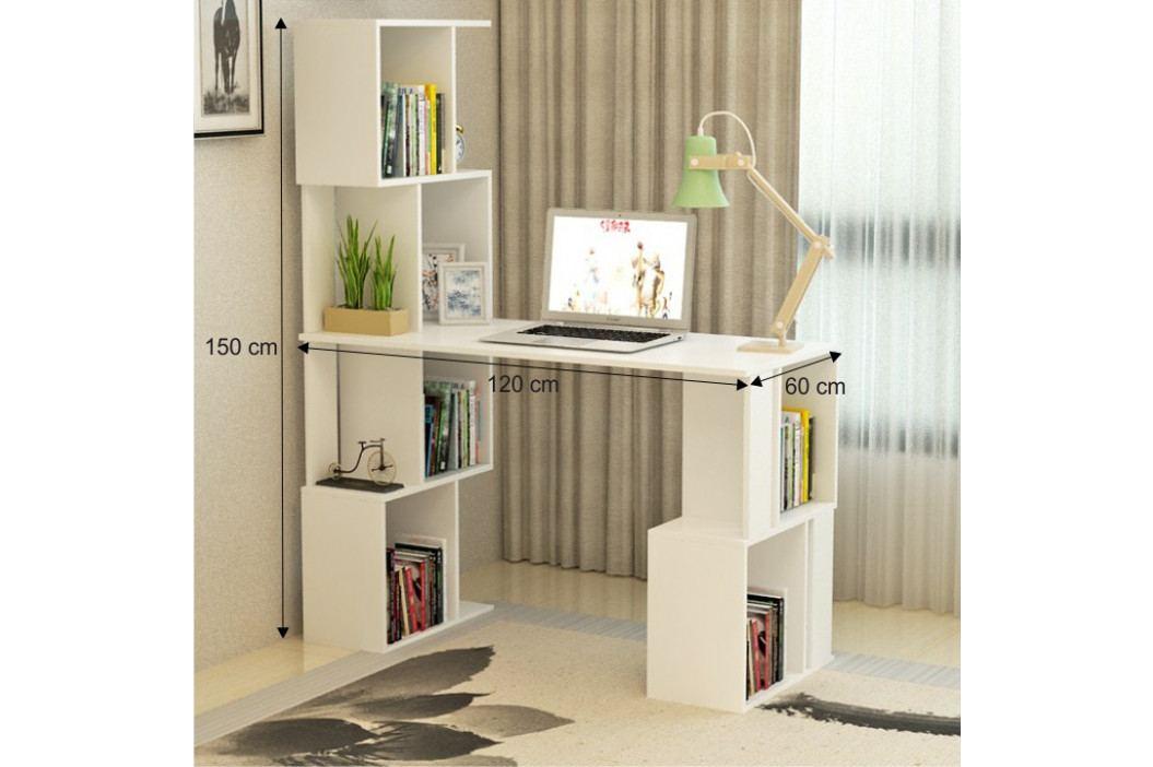 PC stůl s regálem, bílá, FLOKI
