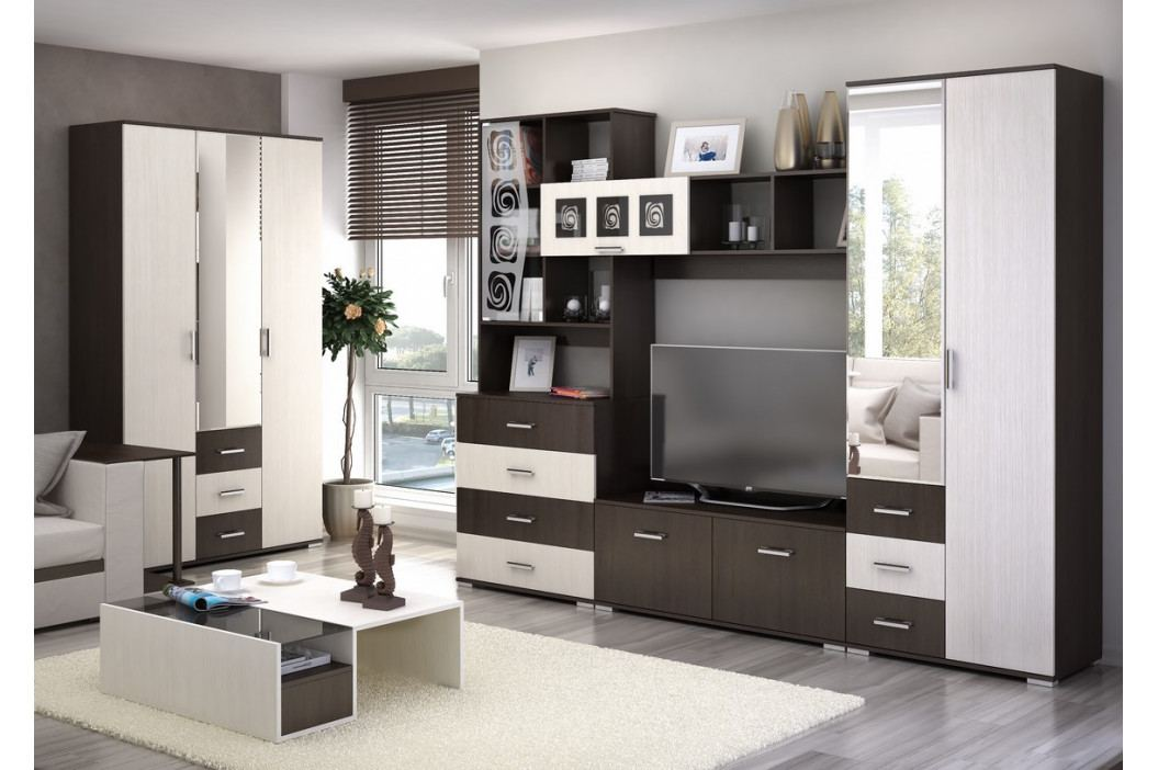 Kombinovaná TV stěna v dekoru dub belfort a wenge KN830