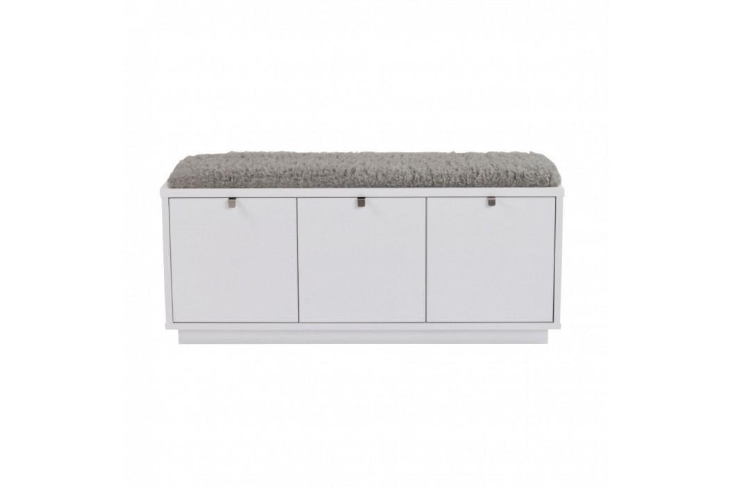 Bílá lavice s úložným prostorem a s šedým sedákem Folke Confetti, šířka 106cm