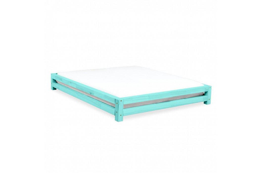 Tyrkysová dvoulůžková postel zesmrkového dřeva Benlemi JAPA, 160x190cm