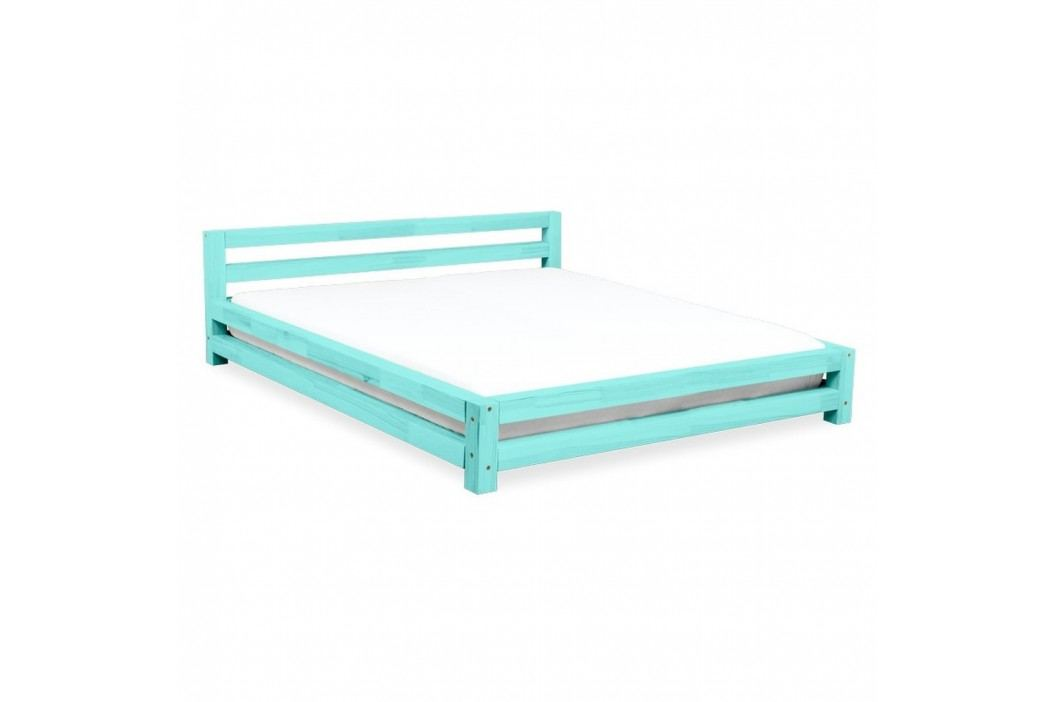 Tyrkysová dvoulůžková postel z smrkového dřeva Benlemi Double,200x200cm