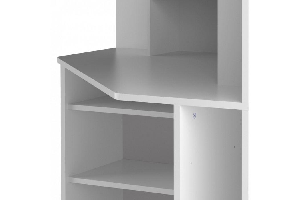 Bílý rohový pracovní stůl Symbiosis Archi