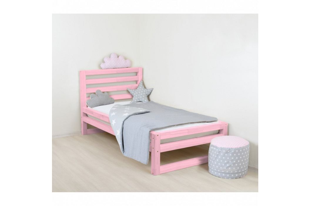 Dětská růžová dřevěná jednolůžková postel Benlemi DeLuxe, 160x70cm