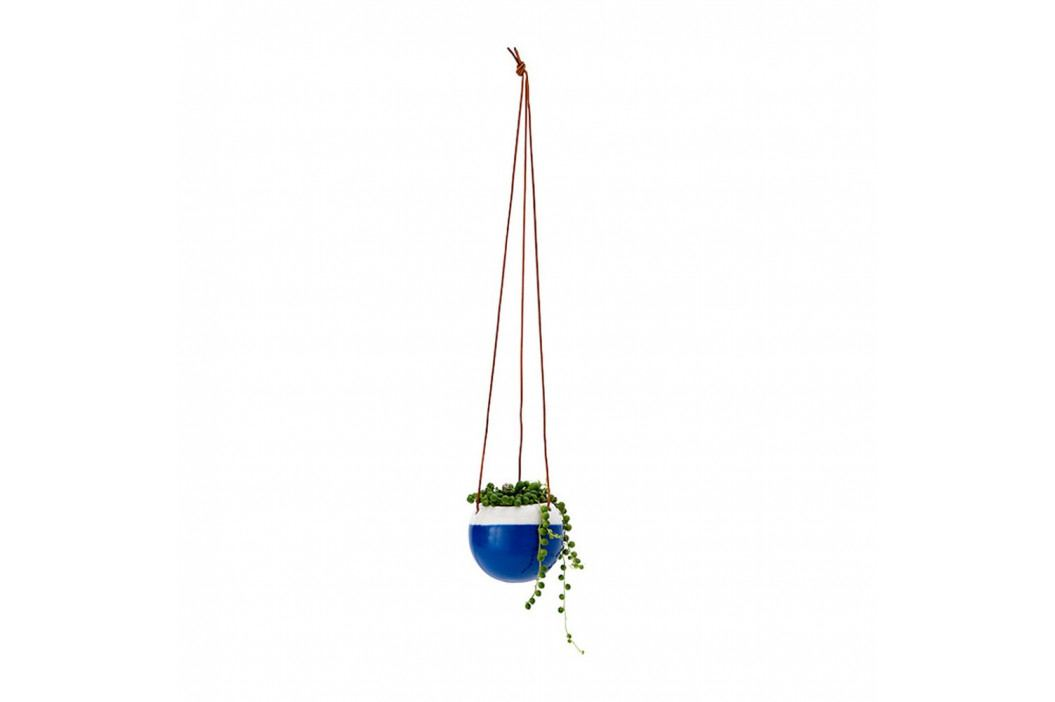 Modrý závěsný květináč se závěsem z kůže Ladelle, ⌀ 13cm