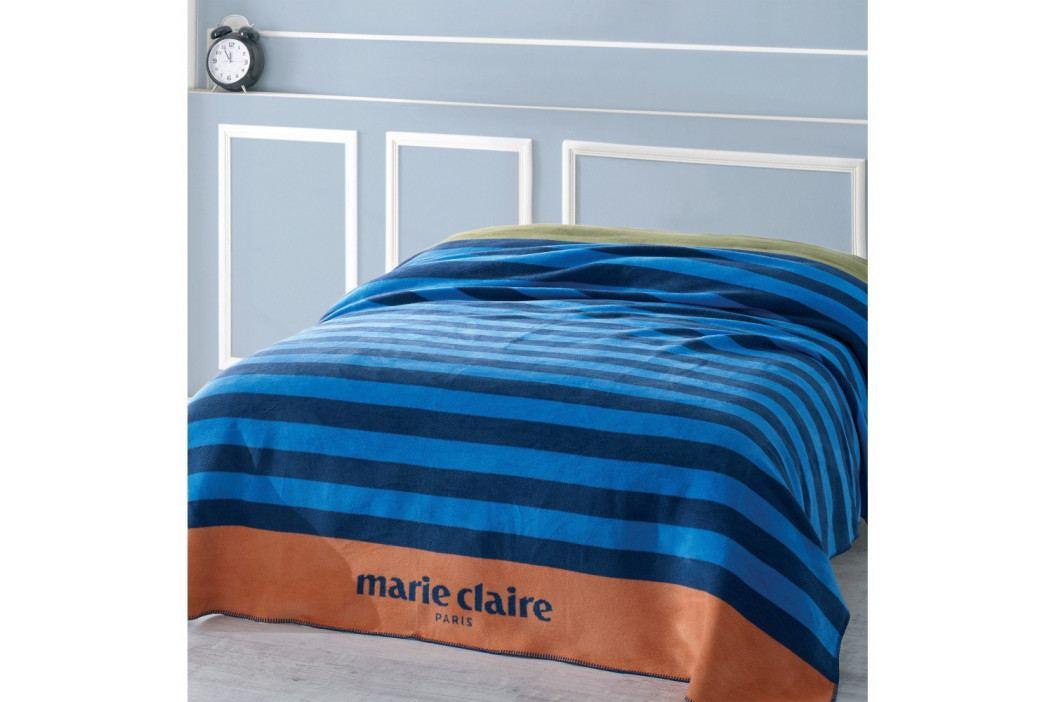 Modrá deka s černými pruhy z edice Marie Claire, 200 x 220 cm