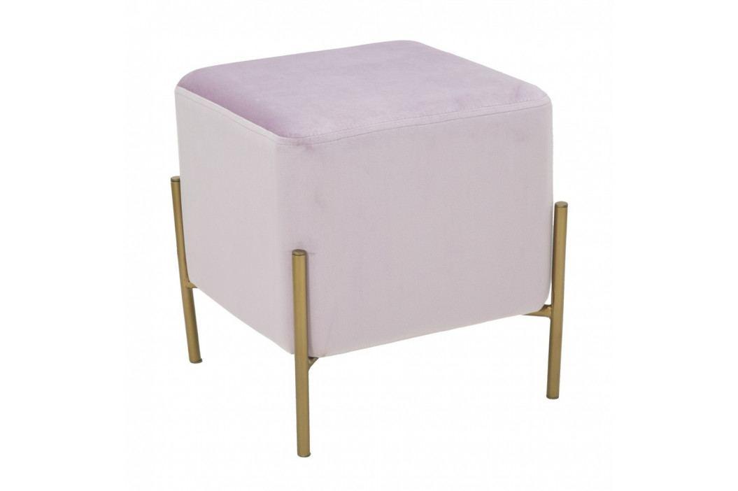Pudrově růžový puf s železnými nohami ve zlaté barvě Mauro Ferretti Rotondo