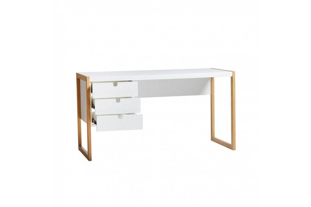 Bílý pracovní stůl Marckeric Square, 140 x 75 cm
