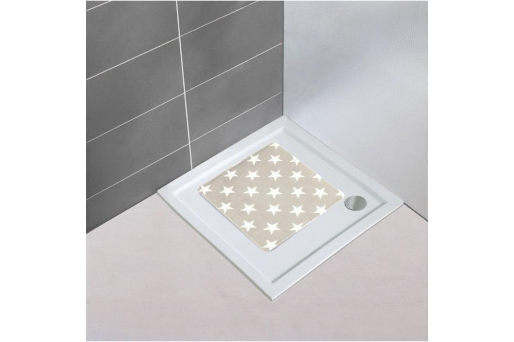 Šedobéžová protiskluzová koupelnová podložka Wenko Stars, 54x54cm