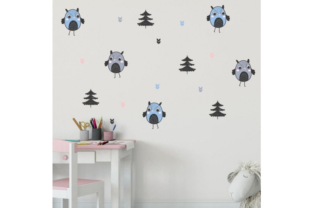 Sada nástěnných dětských samolepek Ambiance Scandinavian Owls and Trees