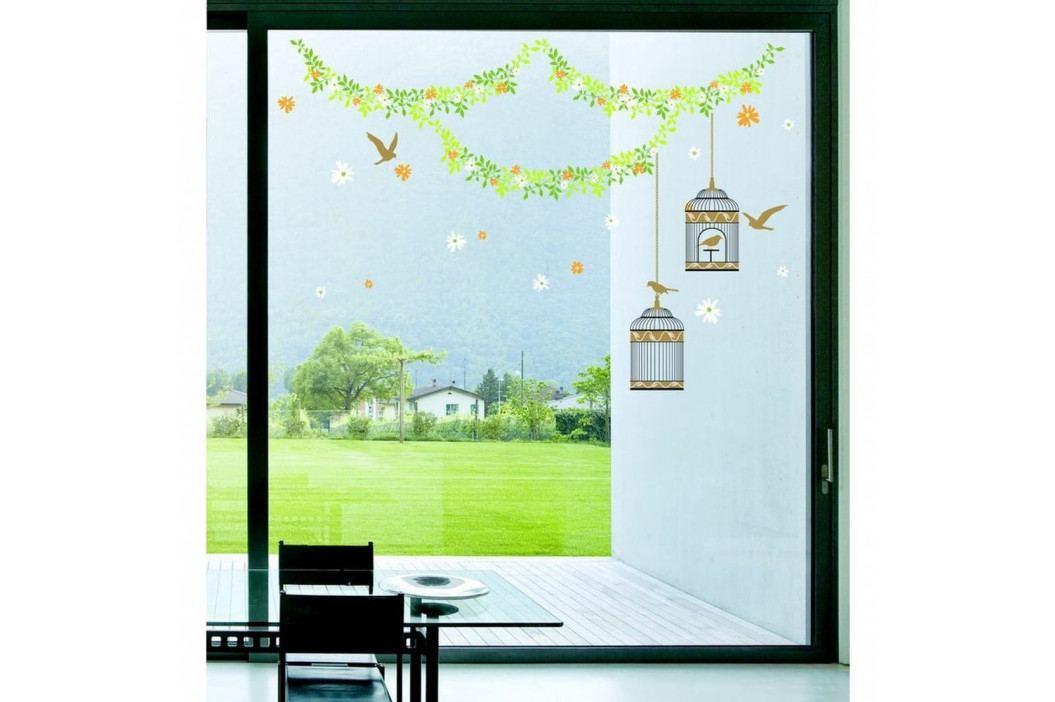 Samolepka Ambiance Elegant cages, birds and flowers, 30 cm